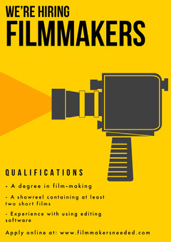 Yellow and Black Illustrated Filmmaker Open Position Flyer with Camera Job Poster