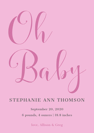 Pink Elegant Calligraphy Baby Girl Birth Announcement Card Birth Announcement