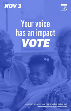 blue white your voice has an impact vote poster  Political Flyer