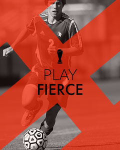 Red and Black and White Motivational Sport Instagram Portrait Graphic with Soccer Player Soccer