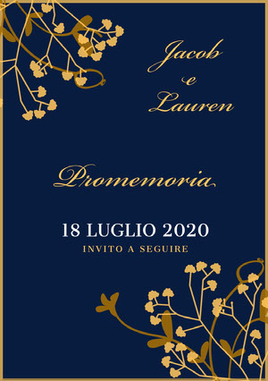 navy blue and gold wedding invitations  Promemoria