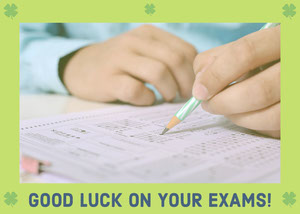 Green Good Luck on Exams Card Good Luck Card