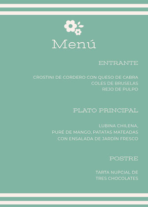 light blue wedding menu  Menú