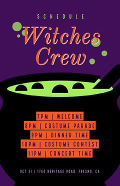 Witches Crew Halloween Party Schedule Halloween Party Schedule