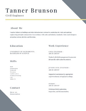 Modern Civil Engineer Resume Currículum moderno
