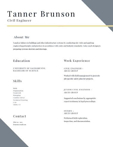 Modern Civil Engineer Resume Best Fonts for Your Résumé
