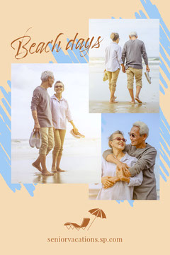 Beige Brown and Blue Beach Collage Pinterest Post Vacation