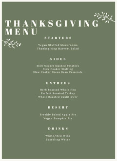 THANKSGIVING MENU Thanksgiving Menu