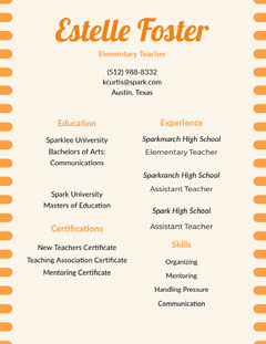 Orange Estelle Foster Resume Teacher