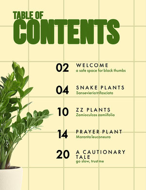 green botanical table of contents sommario