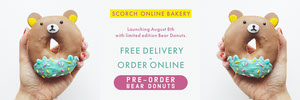 White Blue and Yellow Bear Donuts Advertisement Ads Banner