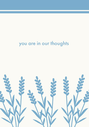 you are in our thoughts  Cartão de pêsames