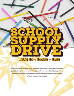 White and Colorful School Supplies Drive Poster Giveaway