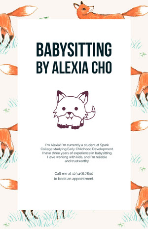 White With Foxes Graphic Babysitter Flyer Announcement