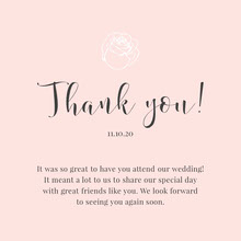 pink rose wedding thank you card  Bryllupstakkekort