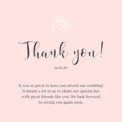 Pink Rose Wedding Thank You Card Rustic Wedding Invitation