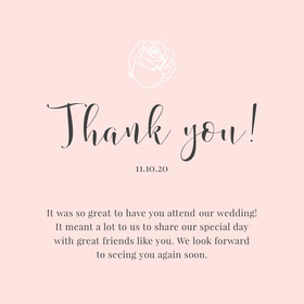 pink rose wedding thank you card  Thank You Card
