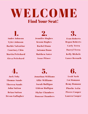 Simple Pink Monochromatic Seating Chart Seating Charts