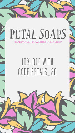 Green & Purple Abstract Flowers Petal Soaps Instagram Story Shopping