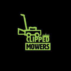 Green and Black Clipped Mowers Logo Square Neon