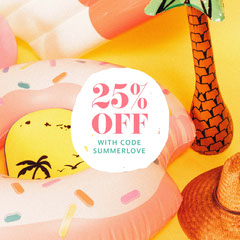 Summer Sale Announcement Instagram Square Post with Pool Floats Discount