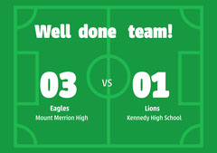 green white school soccer team scores well done results a4 Soccer