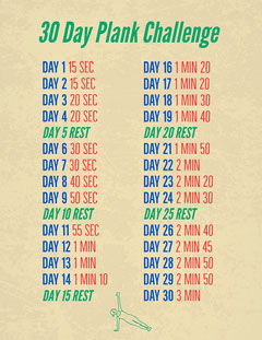 Beige 30 Day Plank Challenge Letter Health Poster