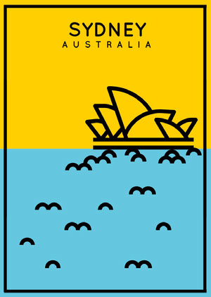 Yellow and Blue Sydney Australia Postcard with Opera House Illustration Postcards