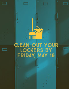 Blue and Yellow Clean Out Your Lockers Flyer Cleaning Service