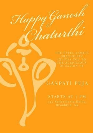 Orange Simple Ganpati Invitation Ganpati Invitation