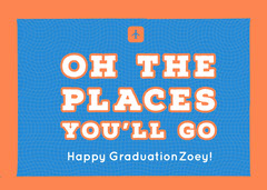Blue and Orange Graduation Card Graduation Congratulation