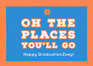 Blue and Orange Graduation Card Karte zum Schulabschluss