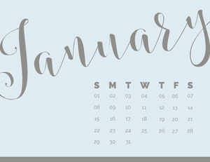 Gray and Blue Calligraphy January Calendar Calendari