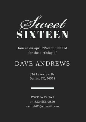 Black and White Elegant Sweet Sixteen Birthday Invitation Card Sweet 16 Invitation