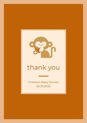 Orange Illustrated Thank You Baby Shower Card with Monkey Baby Shower Thank You Card