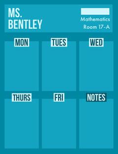 Blue Mathematics Class Weekly School Lesson Plan Math