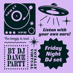 Purple and Black Illustrated Dance Party Instagram Square Graphic DJ