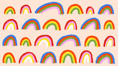 Illustrated Rainbow Pattern Zoom Background Pattern Design