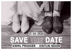 Black and White Save The Date Card Rustic Wedding Invitation