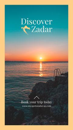 Orange border with Sunset Discover Zadar Instagram Story Sunset