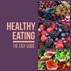 Purple Healthy Eating Guide Instagram Square Post with Fruit Healthy
