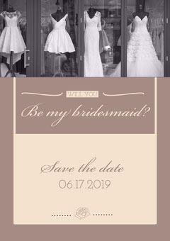 Beige Elegant Bridesmaid Save the Date Wedding Invitation Card Dress