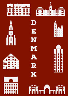 Red Illustrated Denmark Postcard with Landmarks Architecture