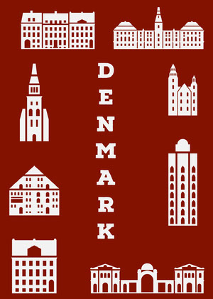 Red Illustrated Denmark Postcard with Landmarks Rejsepostkort