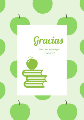green apple patterned thank you cards  Tarjeta de agradecimiento