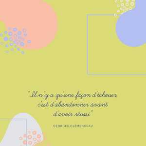 lime green only one way to fail Clémenceau quote Instagram square  Affiche de motivation