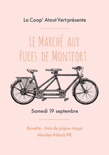 Pink And Grey Bicycle Flea Market Poster Affiche