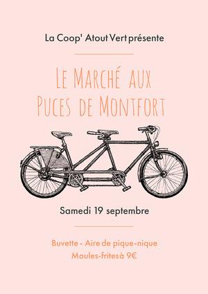 Pink And Grey Bicycle Flea Market Poster Affiche événementielle