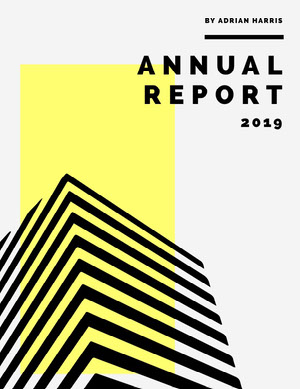 Black and Yellow Modern Geometric Striped Shape Annual Business Report Relatório