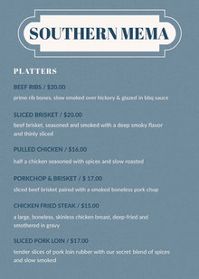 Blue Barbecue Restaurant Menu BBQ Menu